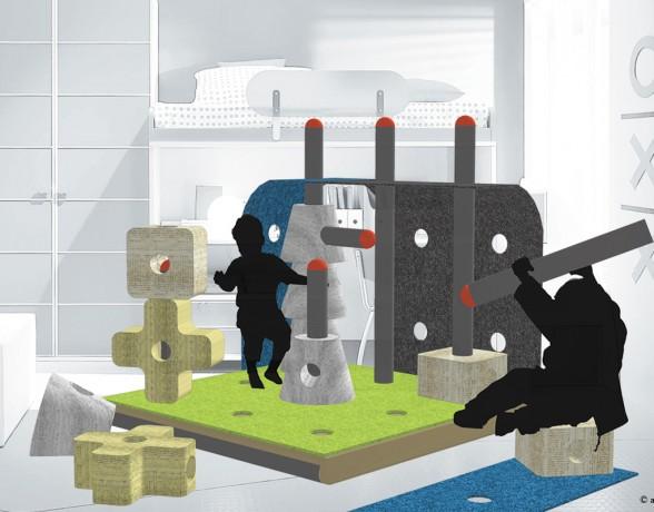Mobilier ludique imaginé par A4 designers pour le concours minimaousse v4 : construire xxs pour les plus petits en bois, papier et carton