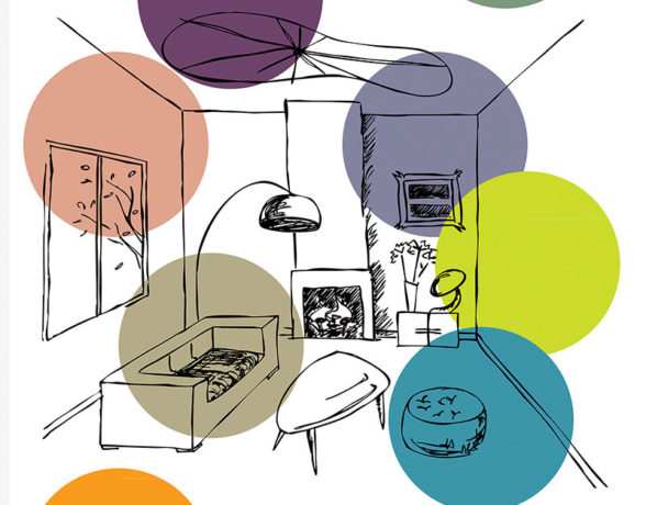 Affiche réalisée par le collectif A4 Designers pour l'exposition Aménageons durable et créatif organisée par l'UNIFA et Aprovalbois en Bourgogne.