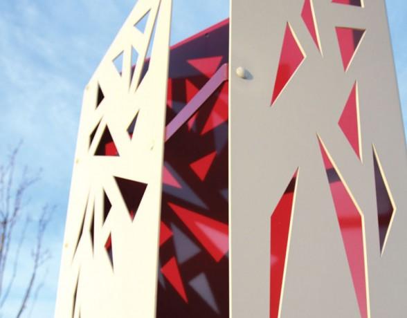 Sculpture imaginée par A4 designers dans le cadre d'atelier avec l'Art pour le Dire pour le pôle de santé de la Mutualité Française et Icade sur la ZAC Valmy à Dijon