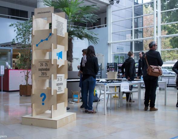 Scénographie par le collectif A4 designers pour les Rencontres Professionnelles sur l'entreprenariat culturel et créatif organisées par la Coursive Boutaric à l'ESC Dijon