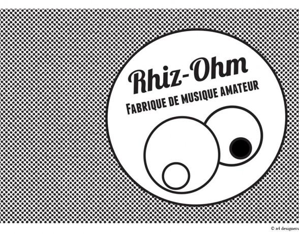 Création, par le collectif a4 designers, de l'identité visuelle complète de l'association Rhiz-Ohm, fabrique de musique amateur à Dijon.