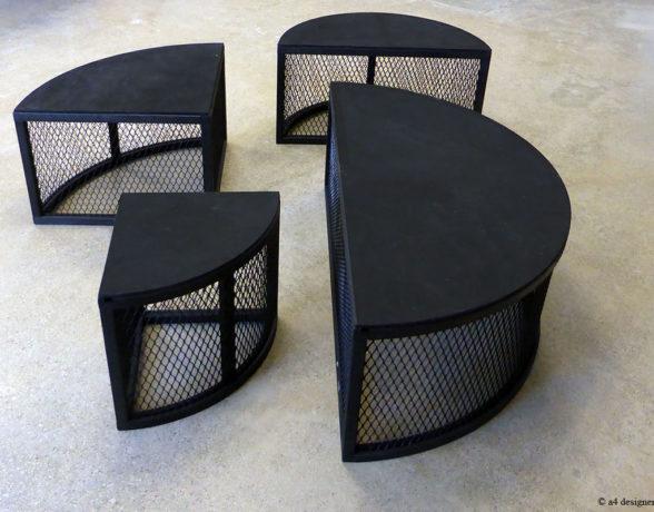 A4 designers imagine du mobilier modulable pour scenographier le showroom de l'atelier pierre du lycée des Marcs d'Or à Dijon.